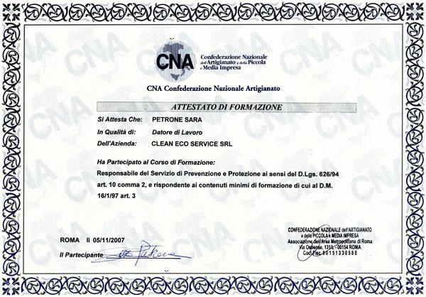 certificato cna prevenzione e protezione